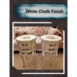 Pair of highted tables with Chalk Finish