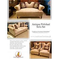 Velvet Sofa with Antique Polish