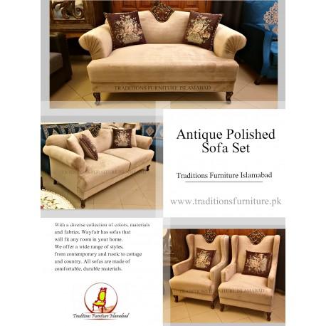 Velvet Sofa with Antique Polish
