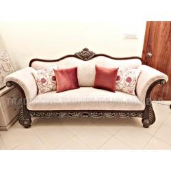 Seasoned Sheesham Wood Sofa with Carving